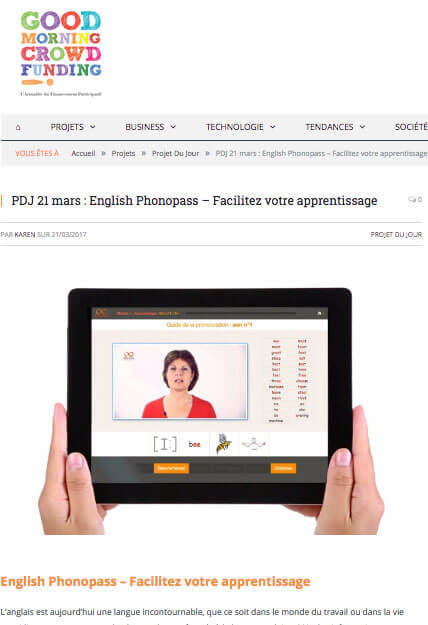 English Phonopass dans GoodMorningCrowdFunding !!